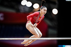 October 28, 2018 - Doha, Quatar - Yile Chen of  China   during  Uneven Bars qualification at the Aspire Dome in Doha, Qatar, Artistic FIG Gymnastics World Championships on 28 of October 2018. (Credit Image: © Ulrik Pedersen/NurPhoto via ZUMA Press)