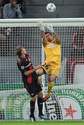 28.09.2011, BayArena, Leverkusen, GER, UEFA CL, Gruppe E, Bayer 04 Leverkusen (GER) vs KRC Genk (BEL), im Bild.Laszlo Koteles (Torwart Genk) gegen Stefan Kiessling (Leverkusen #11)..// during the UEFA CL, group E, Bayer Leverkusen vs KRC Genk  on 2011/09/28, at BayArena, Leverkusen, Germany. EXPA Pictures © 2011, PhotoCredit: EXPA/ nph/  Mueller *** Local Caption ***       ****** out of GER / CRO  / BEL ******