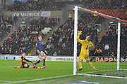 Hull City midfielder Sam Clucas tries to make it 2-0 to City but goes over the bar  during the Sky Bet Championship match between Hull City and Bolton Wanderers at the KC Stadium, Kingston upon Hull, England on 12 December 2015. Photo by Ian Lyall.