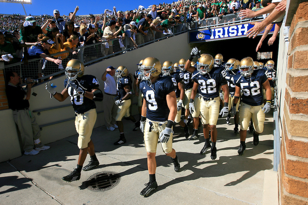 The football team comes out of the tunnel for the MSU game, 2007 season.
