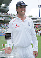 Graeme Swann with the man of the series award he shared with Mark Boucher  during day 4 of the 4th Castle Test between South Africa and England held at The Bidvest Wanderers Stadium in Johannesburg, South Africa on the 17 January 2010.Photo by:  Ron Gaunt/SPORTZPICS