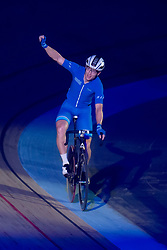 February 8, 2019 - Melbourne, VIC, U.S. - MELBOURNE, VIC - FEBRUARY 08: James Brister of Australia celebrates at The Six Day Cycling Series on February 08, 2019 at Melbourne Arena, VIC. (Photo by Speed Media/Icon Sportswire) (Credit Image: © Speed Media/Icon SMI via ZUMA Press)