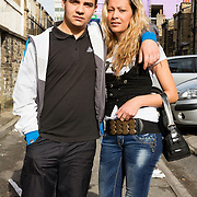 A young couple photographed in the alley between Grove Terrace and Southbrook Terrace Bradford.