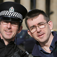 PC Ian Thomson with twin brother Ernie Thomson.<br /> <br /> Picture by John Lindsay<br /> COPYRIGHT: Perthshire Picture Agency.<br /> Tel. 01738 623350 / 07775 852112.