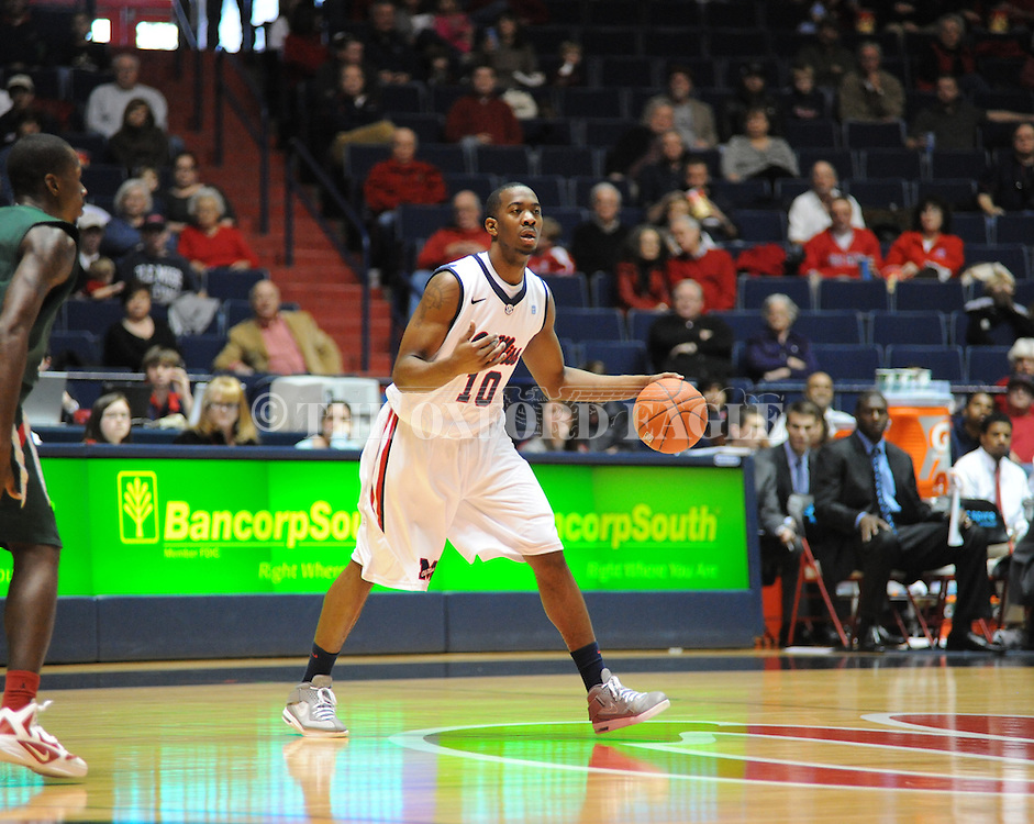 "Ole Miss' LaDarius White (10) dribbles at C.M. ""Tad"" Smith Coliseum in Oxford, Miss. on Saturday, December 10, 2011."
