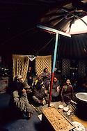 Mongolia. Ulaanbaatar. Gandan Monastery in Oulan Bator   / Monastère de Gandantegtchinlin à Oulan Bator . Mongolie. Colonie de pigeons dans la cour intérieure du monastère. Les pigeons du monastère sont régulièrement nourris par les laïcs qui leur jettent des poignées de graines. Malheureusement ces volatiles sont souvent à l'origine de dégradations des toits des bâtiments religieux qui doivent être protégés par un grillage en sous-pente, afin de les empêcher d'y faire leur nid.   /  120       P0002565