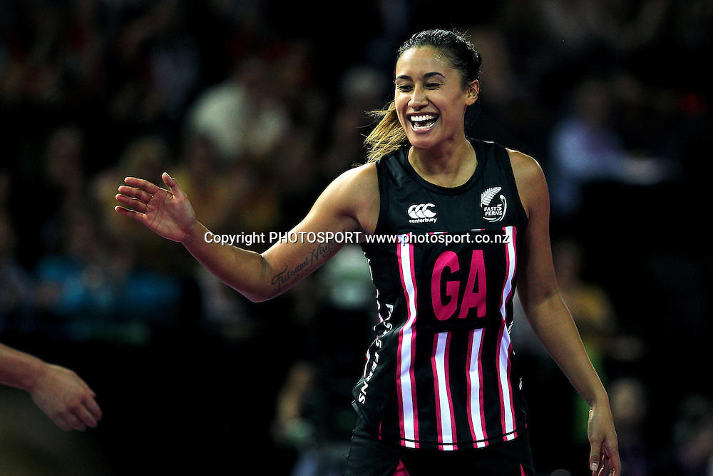Maria Tutaia of New Zealand reacts after her team scores a six pointer. Fast5 Netball World Series, New Zealand v Australia at Vector Arena, Auckland, New Zealand. Friday 8th November 2013. Photo: Anthony Au-Yeung / photosport.co.nz