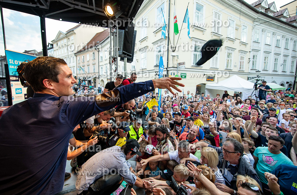 Jan Polanc and Primoz Roglic with fans during reception of best Slovenian riders after Giro d'Italia 2019 and Tour of California 2019, on June 3rd, 2019, in Mestni trg, Ljubljana, Slovenia. Photo by Vid Ponikvar / Sportida