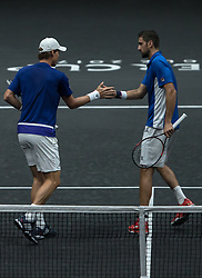 September 24, 2017 - Prague, Czech Republic - Tomas Berdych and Marin Cilic of Team Europe react during there mens doubles match between John Isner and Jack Sock of Team World on the final day of the Laver cup on September 24, 2017 in Prague, Czech Republic. The Laver Cup consists of six European players competing against their counterparts from the rest of the World. Europe will be captained by Bjorn Borg and John McEnroe will captain the Rest of the World team. The event runs from 22-24 September. (Credit Image: © Robert Szaniszlo/NurPhoto via ZUMA Press)