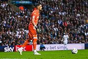 Leeds United goalkeeper Francisco Casilla (13) passes the ball during the EFL Sky Bet Championship match between Leeds United and Brentford at Elland Road, Leeds, England on 21 August 2019.