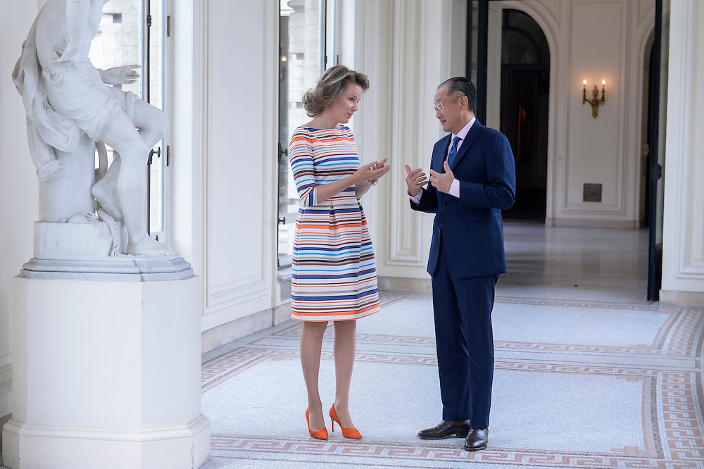 Brussels , 15/06/2016<br /><br />Queen Mathilde receives Dr. Jim Yong Kim , President of the World Bank .<br /><br />Pix : Queen Mathilde , Dr. Jim Yong Kim<br /><br />Credit : Melanie Wenger / Isopix *** local caption *** 22565343