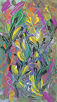 colorful floral abstraction art: colorful abstract image with floral and nature pattern with bended lines, abstract shapes and spots of color