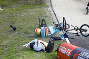 BMX Finals, crash, Ruben Gommers (Belgium), Jonas Ballbach (Germany) during the Cycling European Championships Glasgow 2018, at Glasgow BMX Centre, in Glasgow, Great Britain, Day 9, on August 10, 2018 - Photo luca Bettini / BettiniPhoto / ProSportsImages / DPPI<br /> - Restriction / Netherlands out, Belgium out, Spain out, Italy out -
