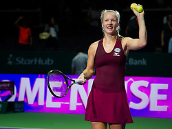 October 23, 2018 - Kallang, SINGAPORE - Kiki Bertens of the Netherlands celebrates winning her first match at the 2018 WTA Finals tennis tournament (Credit Image: © AFP7 via ZUMA Wire)