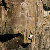 Akihiko Tohara climbing Circus Right, 5.12c/d at sea cliffs of Jogasaki, Japan