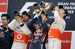 22.05.2011, Circuit de Catalunya, Barcelona, ESP, Großer Preis von Spanien / Barcelona, RACE 05, im Bild  Podium - Lewis Hamilton (GBR), McLaren F1 Team - Sebastian Vettel (GER), Red Bull Racing - Jenson Button (GBR),  McLaren F1 Team     EXPA Pictures © 2011, PhotoCredit: EXPA/ nph/  Dieter Mathis (bitte als Fotovermerk angeben)        ****** only for AUT, POL & SLO ******