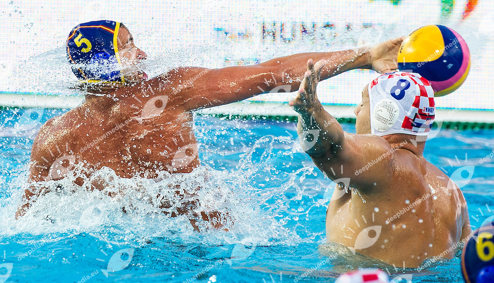 5  MOLINA RIOS Guillermo  ESP<br /> 8 BUSLJE Andro CRO<br /> CRO(white) vs ESP(blue)<br /> LEN European Water Polo Championships 2014<br /> Alfred Hajos -Tamas Szechy Swimming Complex<br /> Margitsziget - Margaret Island<br /> Day02 - July 15 <br /> Photo G. Scala/Inside/Deepbluemedia