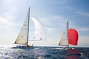 Kiwi Magic KZ 7 and Wright on White KZ 3, 12 Meter Class, sailing in the Valencia 12 Metre Regatta.