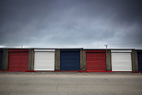Red, White and Blue Storage Units at Alameda Point on Memorial Day 2015, Alameda, California
