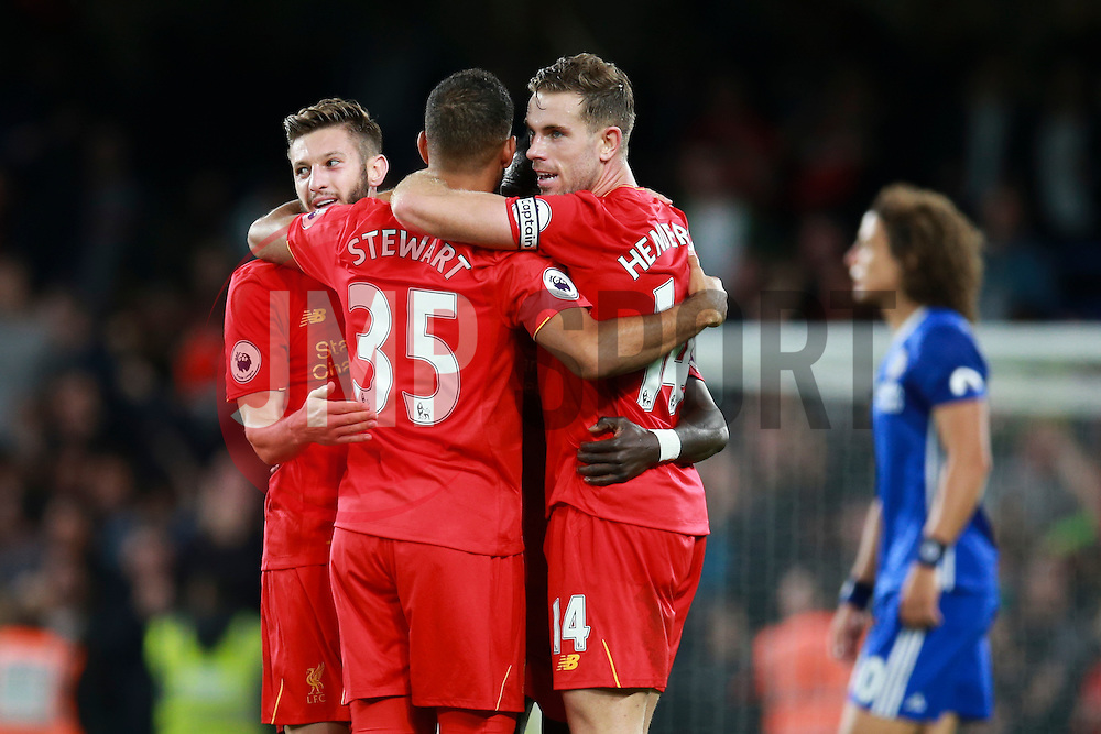 Liverpool celebrate their win over Chelsea - Mandatory by-line: Jason Brown/JMP - 16/09/2016 - FOOTBALL - Stamford Bridge - London, England - Chelsea v Liverpool - Premier League