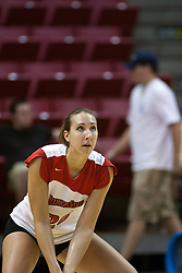 19 AUG 2006  Kari Staehlin waits to receive the ball..Game action took place at Redbird Arena on the campus of Illinois State University in Normal Illinois.