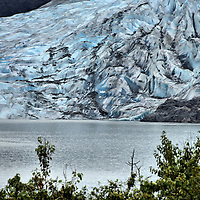 Mendenhall Glacier Ice Blue Terminus near Juneau, Alaska <br />