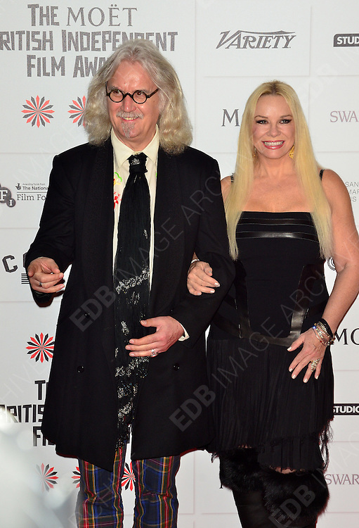 09.DECEMBER.2012. LONDON<br /> <br /> BILLY CONNOLLY AND PAMELA STEPHENSON ATTEND THE BRITISH INDEPENDENT FILM AWARDS AT OLD BILLINGSGATE MARKET. <br /> <br /> BYLINE: JOE ALVAREZ/EDBIMAGEARCHIVE.CO.UK<br /> <br /> *THIS IMAGE IS STRICTLY FOR UK NEWSPAPERS AND MAGAZINES ONLY*<br /> *FOR WORLD WIDE SALES AND WEB USE PLEASE CONTACT EDBIMAGEARCHIVE - 0208 954 5968*