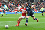 Tomas Kalas (22) of Bristol City battles for possession with Jack Harrison (22) of Leeds United during the EFL Sky Bet Championship match between Bristol City and Leeds United at Ashton Gate, Bristol, England on 9 March 2019.