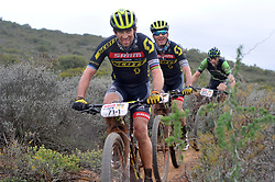 WORCESTER, SOUTH AFRICA - MARCH 21: From front, Thomas Frischnecht and Urs Gerig during stage three's 122km from Robertson to Worcester on March 21, 2018 in Cape Town, South Africa. Mountain bikers from across South Africa and internationally gather to compete in the 2018 ABSA Cape Epic, racing 8 days and 658km across the Western Cape with an accumulated 13 530m of climbing ascent, often referred to as the 'untamed race' the Cape Epic is said to be the toughest mountain bike event in the world. (Photo by Dino Lloyd)
