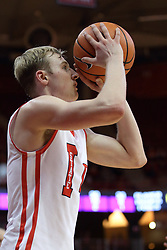 17 February 2018:  Isaac Gassman puts up a 3 from the corner during a College mens basketball game between the University of Northern Iowa Panthers and Illinois State Redbirds in Redbird Arena, Normal IL