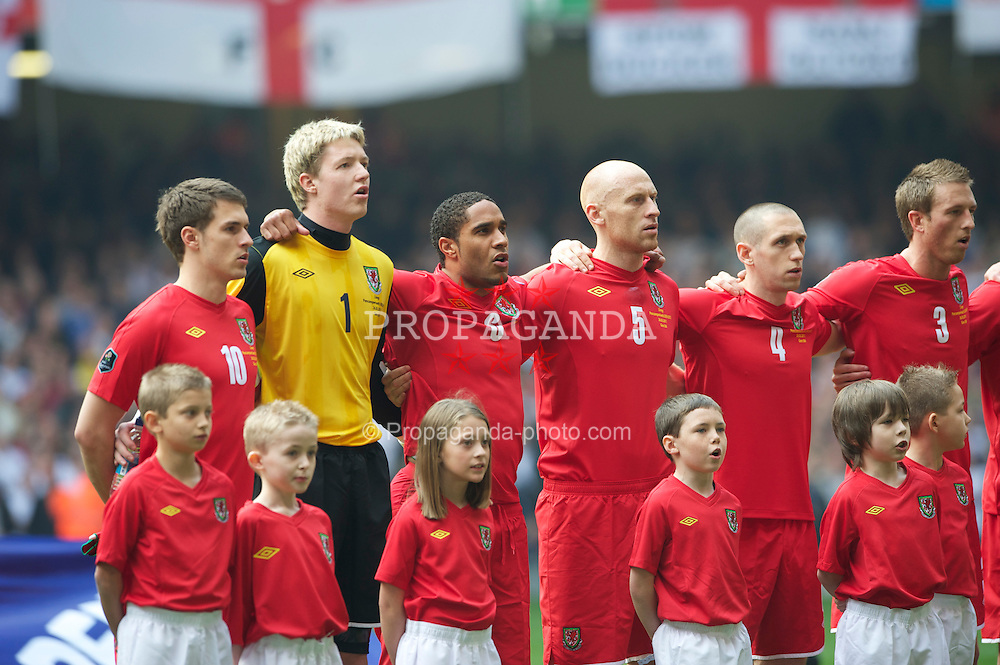 CARDIFF, WALES - Saturday, March 26, 2011: Wales' Aaron Ramsey, goalkeeper Wayne Hennessey, Ashley Williams, James Collins, Andrew Crofts and Danny Collins before the UEFA Euro 2012 qualifying Group G match against England at the Millenium Stadium. (Photo by Dave Kendall/Propaganda)