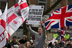 "© under license to London News Pictures. 02/04/2011: The English Defence League hold a rally in Blackburn.About 2000 EDL supporters were in attendance. It was one of the largest policing operations Lancashire police have ever put in to action. Credit should read ""Joel Goodman/London News Pictures""."