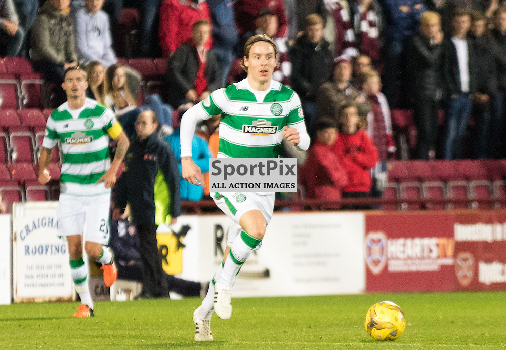 Celtic's Tyler Blackett takes the ball from the back in the Hearts vs Celtic Scottish League Cup Quarter Final 28th October 2015......(c) MARK INGRAM | SportPix.org.uk