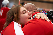 Graz, Austria - 2017 March 23: Ewelina Manista from SO Poland celebrates her victory with trainer coach in Third Place Floor Hockey Match SO Poland against SO St. Lucia while Special Olympics World Winter Games Austria 2017 at Convention Centre Messe Graz on March 23, 2017 in Graz, Austria.<br /> <br /> Mandatory credit:<br /> Photo by &copy; Adam Nurkiewicz / Mediasport<br /> <br /> Adam Nurkiewicz declares that he has no rights to the image of people at the photographs of his authorship.<br /> <br /> Picture also available in RAW (NEF) or TIFF format on special request.<br /> <br /> Any editorial, commercial or promotional use requires written permission from the author of image.<br /> <br /> Image can be used in the press when the method of use and the signature does not hurt people on the picture.