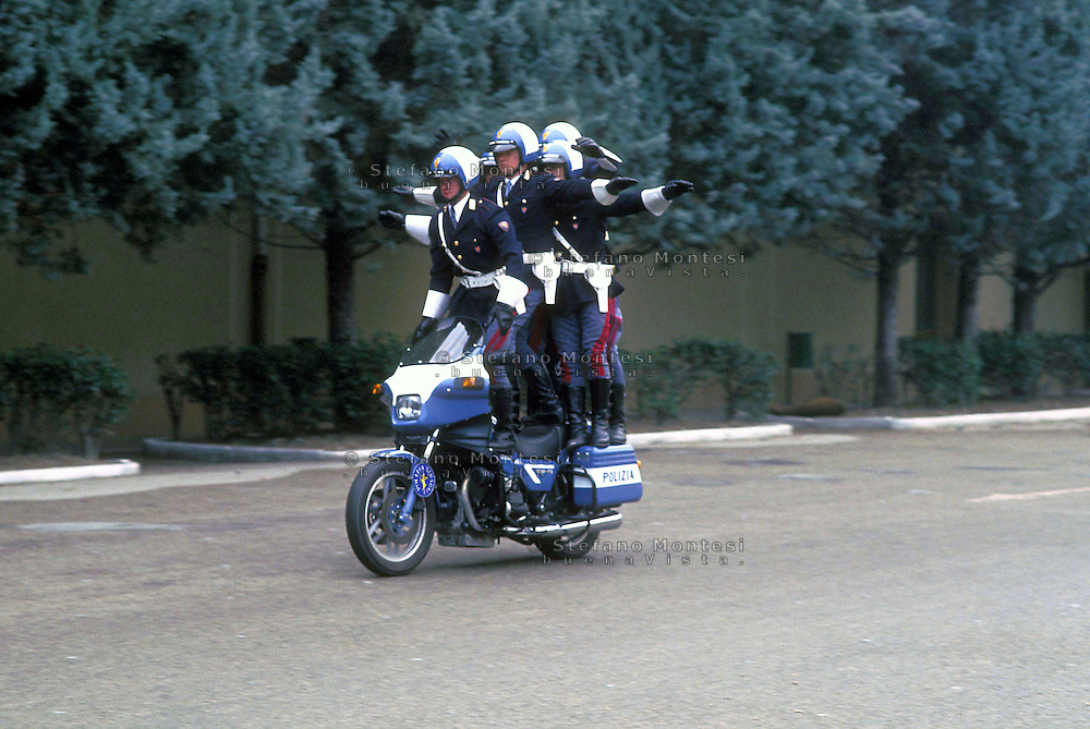 Cesena 1987.Center training of the Police of State.Policemen  in motocycle  during the training