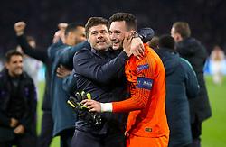 Tottenham Hotspur manager Mauricio Pochettino celebrates with Tottenham Hotspur goalkeeper Hugo Lloris