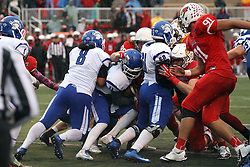 31 October 2015:  The Redbird defense stands up Matt Adam(11) in the end zone, Dalton Keene(98) gets credit for the safety during NCAA FCS Football between Indiana State Sycamores and Illinois State Redbirds at Hancock Stadium in Normal IL (Photo by Alan Look)