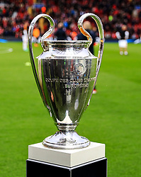 The UEFA Champions League Trophy pitch side before kick off - Mandatory by-line: Matt McNulty/JMP - 24/04/2018 - FOOTBALL - Anfield - Liverpool, England - Liverpool v Roma - UEFA Champions League Semi Final, 1st Leg