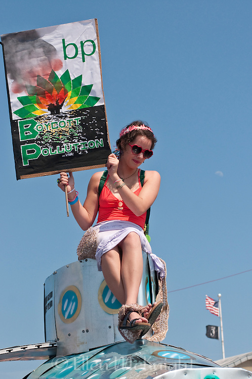 Activist  boycotting BP atop a float at the Coney Island Mermaid Parade in Brooklyn - June 19 ,2010
