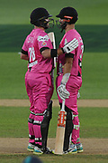 Northern Knights Daryl Mitchell is congratulated on scoring 50 runs by Corey Anderson during the Burger King Super Smash T20 cricket match between the Central Stags and the Northern Knights, McLean Park, Napier, Friday, January 25, 2019. Copyright photo: Kerry Marshall / www.photosport.nz