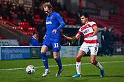 AFC Wimbledon midfielder Mitch Pinnock (11) during the The FA Cup match between Doncaster Rovers and AFC Wimbledon at the Keepmoat Stadium, Doncaster, England on 19 November 2019.