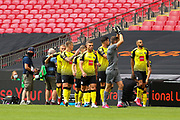 GOAL 1 - 0 Harrogate Town players celebrate after scoring during the Vanarama National League Promotion Final match between Harrogate Town and Notts County at Wembley Stadium, London, England on 2 August 2020.