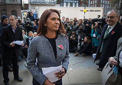 © Licensed to London News Pictures. 03/11/2016. London, UK. Brexit challenger Gina Miller smiles after talking to reporters outside the High Court. High Court has ruled that Parliament must be consulted before the Government trigger article 50 and the UK exit from the EU. Photo credit: Peter Macdiarmid/LNP
