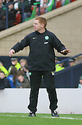 Celtic coach Neil Lennon agitated during the League Cup final between Rangers and Celtic at Hampden Park -<br /> David Young