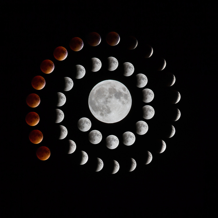 Composite image of the first half of the 2015 Supermoon Full Lunar Eclipse. Images taken every 2 minutes in the vicinity of Tarrytown, NY.