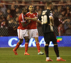 Nottingham Forest's Dexter Blackstock and Nottingham Forest's Michail Antonio celebrate - Photo mandatory by-line: Robbie Stephenson/JMP - Mobile: 07966 386802 - 18/03/2015 - SPORT - Football - Nottingham - City Ground - Nottingham Forest v Rotherham United - Sky Bet Championship