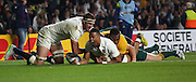 England's Wing Anthony Watson celebrating scoring Englands only try during the Rugby World Cup Pool A match between England and Australia at Twickenham, Richmond, United Kingdom on 3 October 2015. Photo by Matthew Redman.