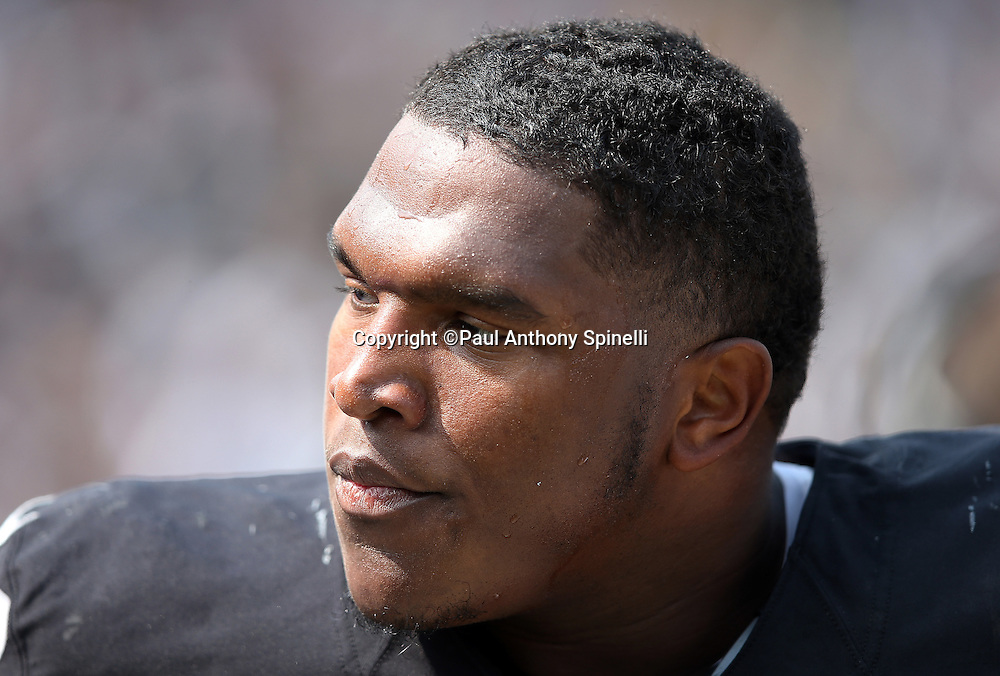 Oakland Raiders defensive tackle Dan Williams (90) looks on from the sideline during the 2015 NFL week 1 regular season football game against the Cincinnati Bengals on Sunday, Sept. 13, 2015 in Oakland, Calif. The Bengals won the game 33-13. (©Paul Anthony Spinelli)