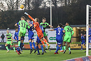 Morecambe goalkeeper Mark Halstead(21) punches clear during the EFL Sky Bet League 2 match between Forest Green Rovers and Morecambe at the New Lawn, Forest Green, United Kingdom on 17 November 2018.