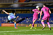 Coventry City midfielder Jordan Shipley (26) takes a shot at goal during the EFL Sky Bet League 1 match between Coventry City and Rochdale at the Trillion Trophy Stadium, Birmingham, England on 16 November 2019.